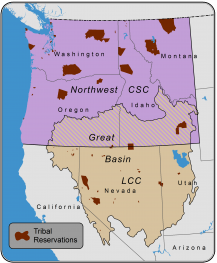 Figure 1. Project Area. Project products will be designed to be relevant and available to Northwest and Great Basin tribes. Units of analysis for climate change projections and summaries will be determined in consultation with tribal partners and are not shown. The technical support desk is designed to be relevant and available to the ~90 tribes within the Northwest and Great Basin regions.