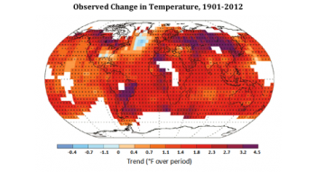 Figure 1. Significant warming has been observed in most locations. Observed changes in air temperature at the Earth's surface between 1901 and 2012. Red and purple colors indicate places that warmed while blue colors indicate places that cooled. White areas indicate places where data were insufficient to permit a robust trend estimate. The '+' signs indicate grid boxes where the direction of the trend is statistically significant. Figure and caption adapted from IPCC 2013.