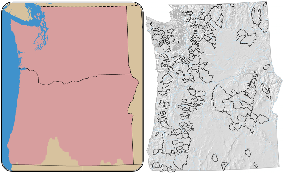 Figure 1. Map showing the domain used for the current dataset. The region covers the U.S. portion of the Columbia River basin, along with coastal watersheds in Oregon and Washington (left). Snow simulations are confined to Oregon and Washington, and hydrologic simulations are confined to a selection of 58 small to medium sized watersheds in Oregon and Washington (right).