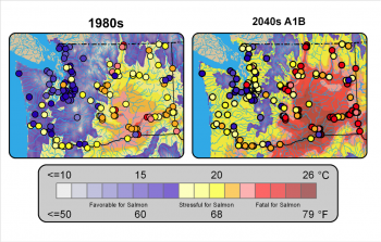 Figure 1 Colored continuous shading shows the mean surface air temperatures for the month of August for the historical (1970-1999) on the left and the future (2030-2059) under the A1B scenario. The shaded circles show the simulated mean of the annual maximum for weekly water temperatures for select locations throughout Washington State. Colors are shaded to highlight thermal tolerances for Salmon, ranging from favorable to fatal (EPA 2007). Figure source: Mantua et al. 2010.