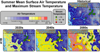 Figure 3 Projected changes in water temperatures for the Skagit watershed. Continuous background colors indicate maximum weekly air temperature and dots represent stream temperature sites projected under the A1B scenario. Thermal thresholds for aquatic habitat as identified by the WA Department of Ecology are: suitable salmon habitat (<13°C) and core salmon habitat (<16°C). Figure source: Snover et al. 2010