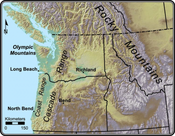 Major topographic features in the Pacific Northwest.