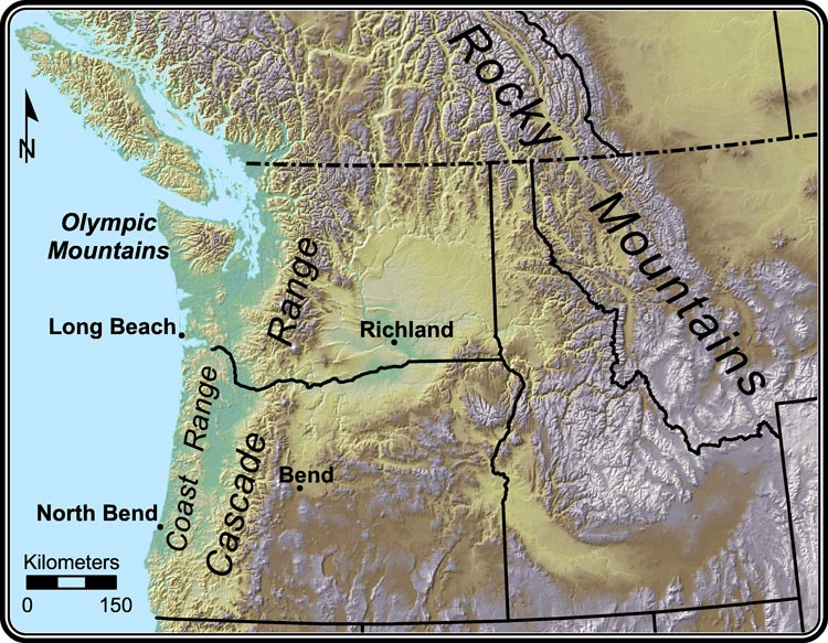 Major Topographic Features In The Pacific Northwest