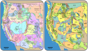 Figure 4. Bailey ecosections in the project domain (left). The green polygons beneath the Bailey ecosections represent USFS lands. Omernik ecoregions in the project domain (right). The green polygons beneath the Omernik ecoregions represent USFS lands.