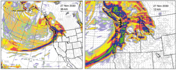 Figure 3 6-hour accumulated precipitation simulated by ECHAM5/WRF for extreme precipitation events on 27 Nov 2030. Left panel shows results for the outer, 36-km domain; right panel show results for the inner, 12-km domain.