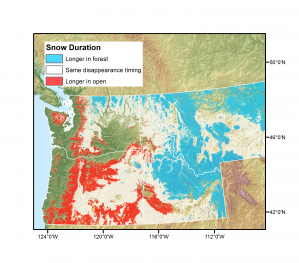 Figure 1. Base-case prediction of where snow lasts at least one week longer in forests vs. openings, estimated from mean winter temperature.